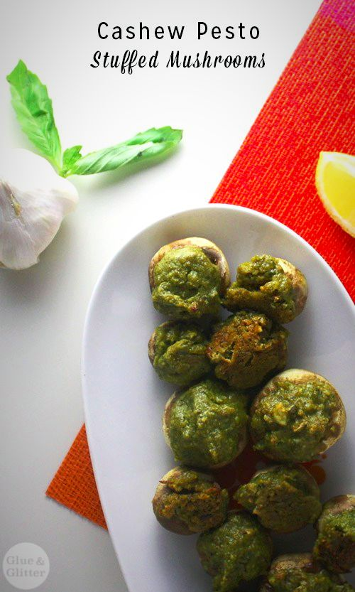 These vegan pestostuffed mushrooms are always a total hit with vegans and omnivores alike!