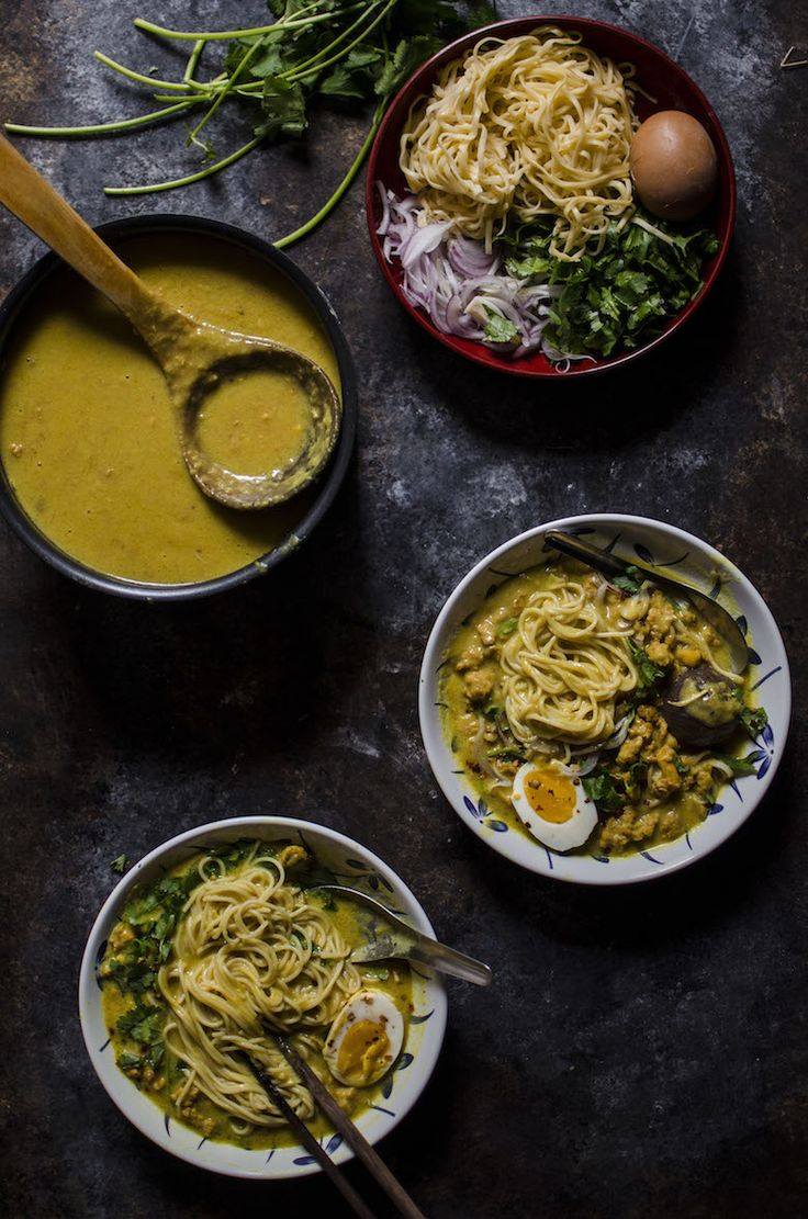 Lime and Cilantro: Noodle in Burmese coconut and chickpea broth (Oh- no-khao-swe)