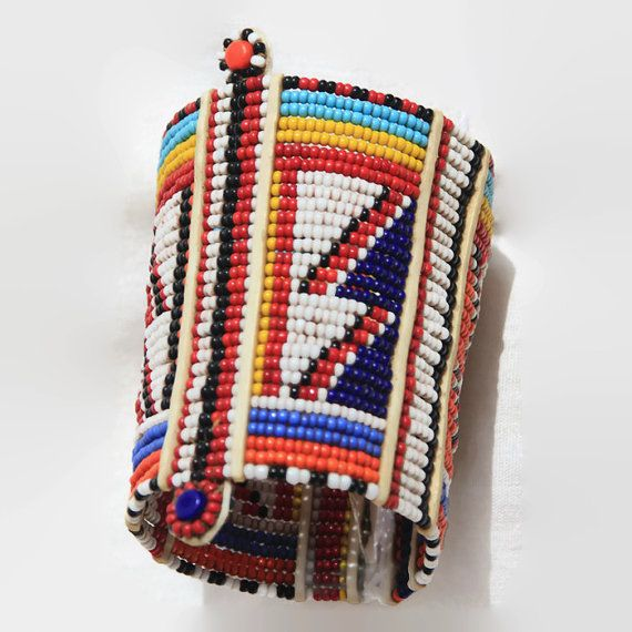 Wristband Maasai Masai beaded bracelet Africa by KenyanTribal