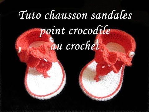 De Fil En Aiguille: TUTO CHAUSSON SANDALES BEBE AU CROCHET FACILE