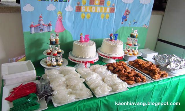 KAO NHIA VANG'S THOUGHTS:  SUPER MARIO BIRTHDAY PARTY THEME - ASIAN FOOD - BACKDROP POSTER BOARD