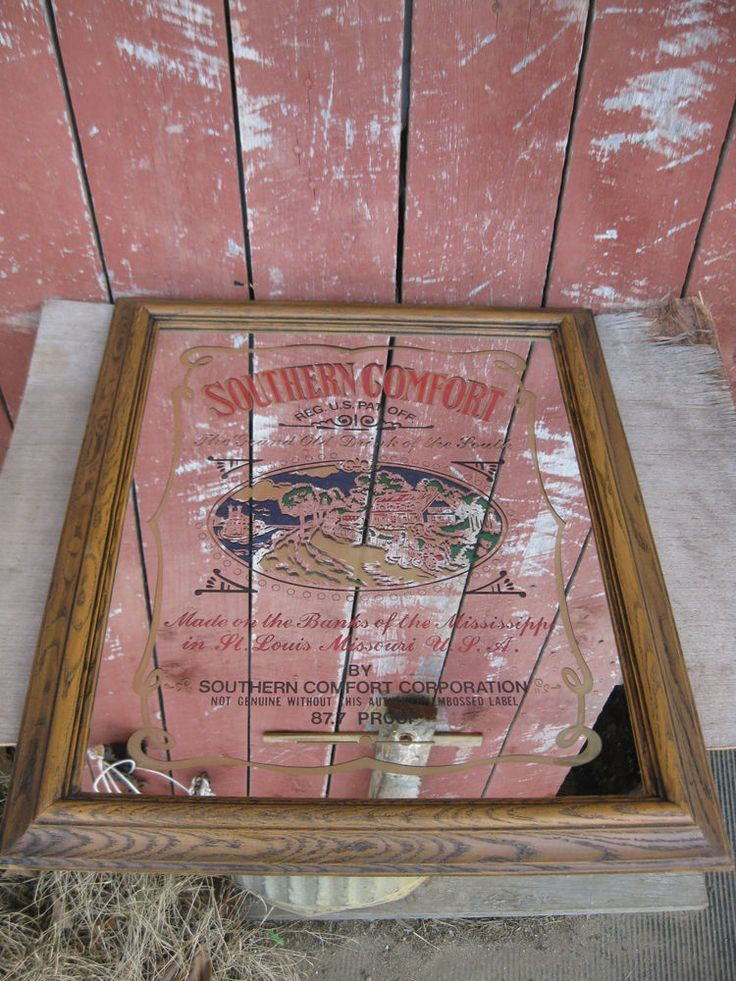 Vintage Southern Comfort Whiskey Advertising Glass Bar Mirror   #Southerncomfort