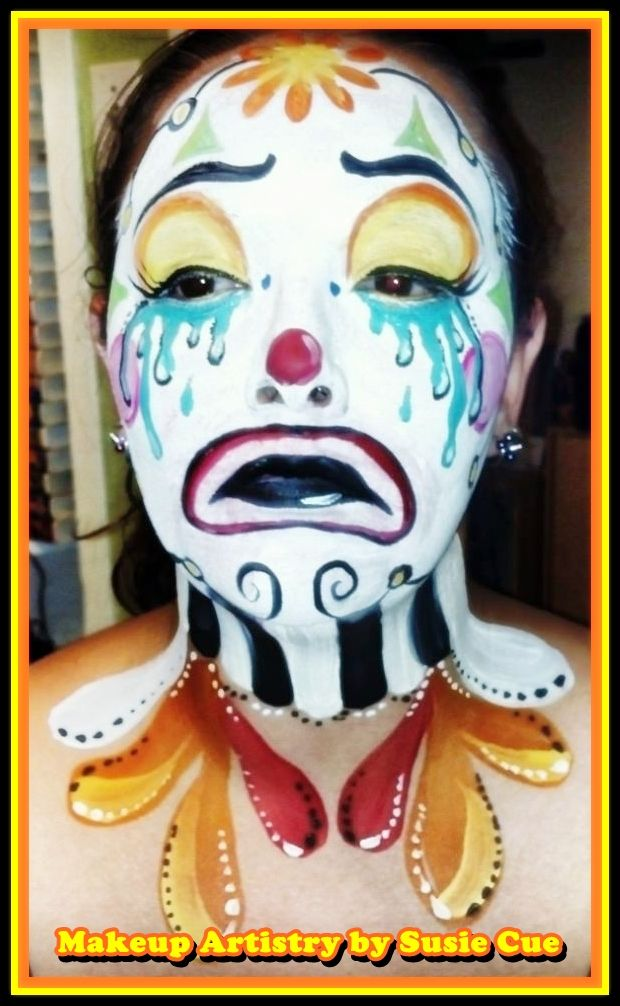 Sad clown   Facepaint, Halloween makeup,  **All images copyrighted not to be used without art permission for any reason** https://www.facebook.com/MakeupforMyVividDream