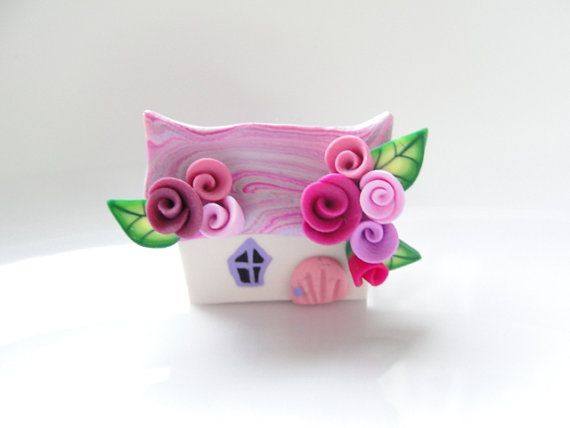 Miniature fairy cottage in pink handmade from polymer clay by fizzyclaret