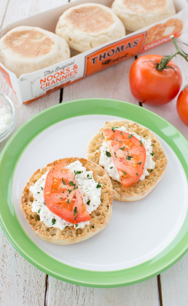 Cottage Cheese & Tomato English Muffin: Call it breakfast, lunch or a snack. Any way you look at it, this Thomas' English Muffin with cottage cheese, tomato and fresh parsley is delicious!