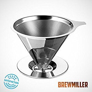 BrewMiller Stainless Steel Coffee Filter - for Paperless Pour Over Coffee Brewing - Reusable Drip Cone Coffee Filter $12.45