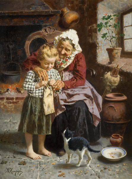 Her First Lesson. Eugenio Zampighi (Italian painter, 1859-1944) Elderly grandmother seated near window, guides standing child's hands in her knitting; kitten at their feet.