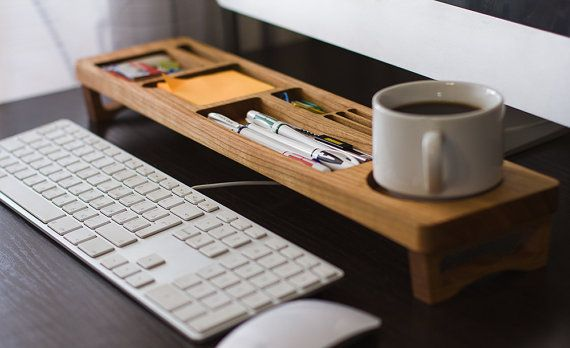 Cherry Wood Desk Organizer Desktop Shelf Office & Home Keyboard Rack Wooden Desktop Storage Accessories Keyboard Rack by iWoodDesignUA
