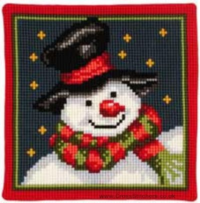 Snowman Cushion Front Cross Stitch Kit by Vervaco