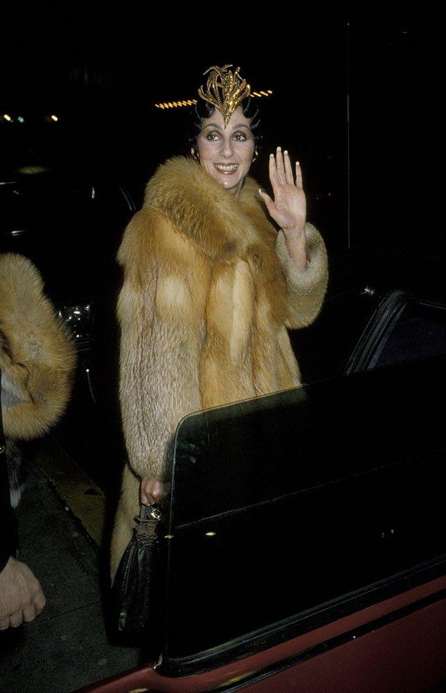 cher wearing fur | Cher wears an interesting headdress ...