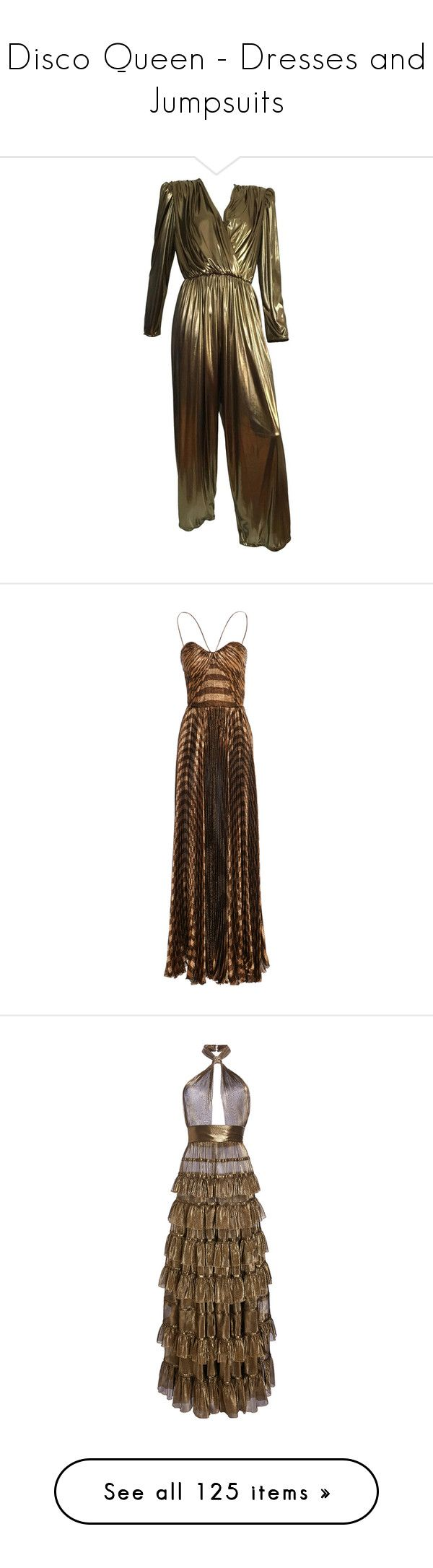 """Disco Queen - Dresses and Jumpsuits"" by metalheavy ❤ liked on Polyvore featuring jumpsuits, multiple, vintage jumpsuit, brown jumpsuit, jump suit, 80s jumpsuit, gold jump suit, dresses, maxi dress and metallic"
