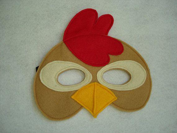 Children's Brown CHICKEN Farm Animal Felt Mask por magicalattic, $12.50