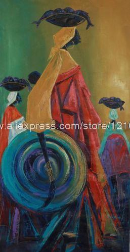 Pintura expresionista africana bellas vendedores ambulantes Paradise hechos a mano Ghana pinturas al óleo descuento descuento música decoración de pared decoración de la pared(China (Mainland))
