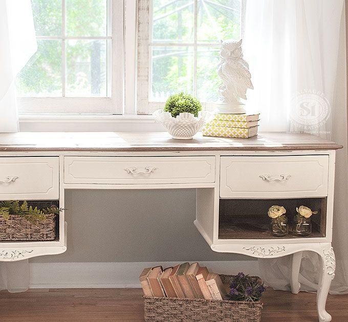 Elegant French Provincial Writing Desk | Annie Sloan White Wax Tutorial