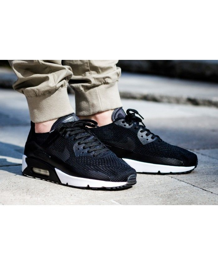 6af7daac27 Men's Nike Air Max 90 Ultra 2.0 Flyknit Black/White 875943-004 ...