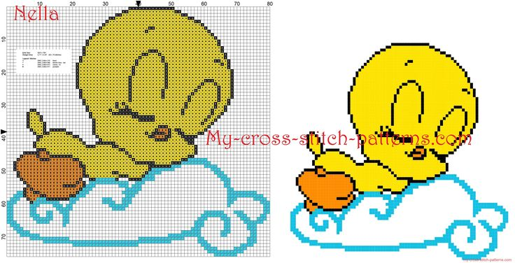 Baby Tweety Looney Tunes on the cloud Cross stitch patterns free - 3288x1680 - 1915351