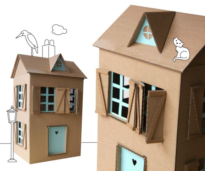 Изумительный домик для куклы из картонной коробки.