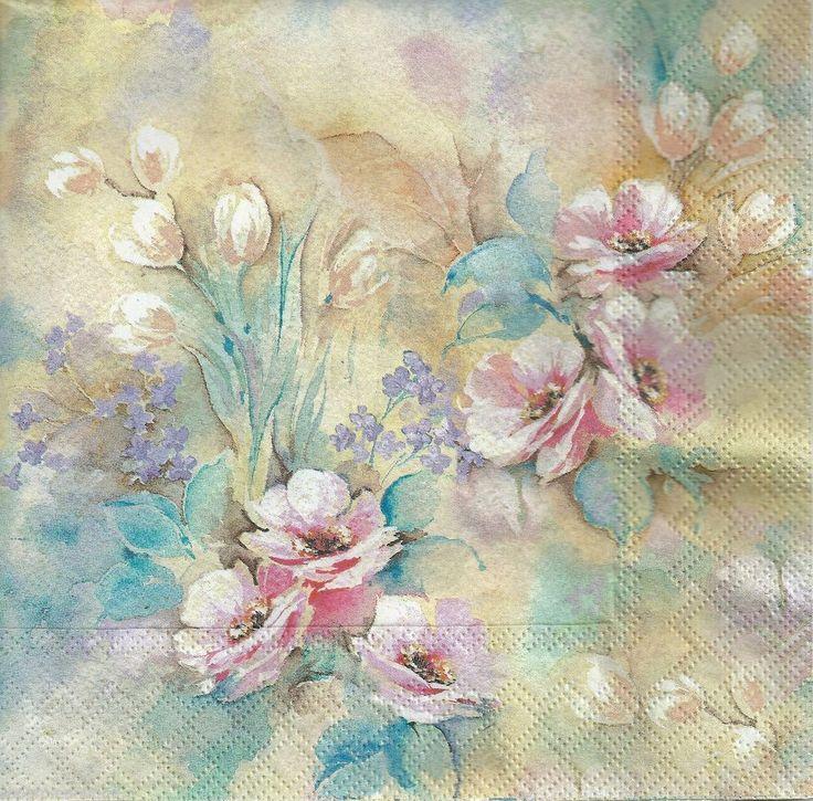 4 x Single PAPER NAPKINS Romantic Flowers Floral DECOUPAGE SET