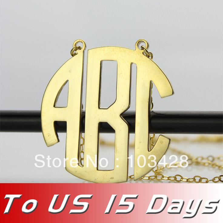 Бесплатная доставка-Персонализированные Имя Сшитое 3 Золотой цвет Инициалы Круг Монограммой Ожерелье Колье с Цепочкой Для НАС 2 недель