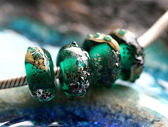 Dark teal green European Style handmade lampwork by MayaHoney