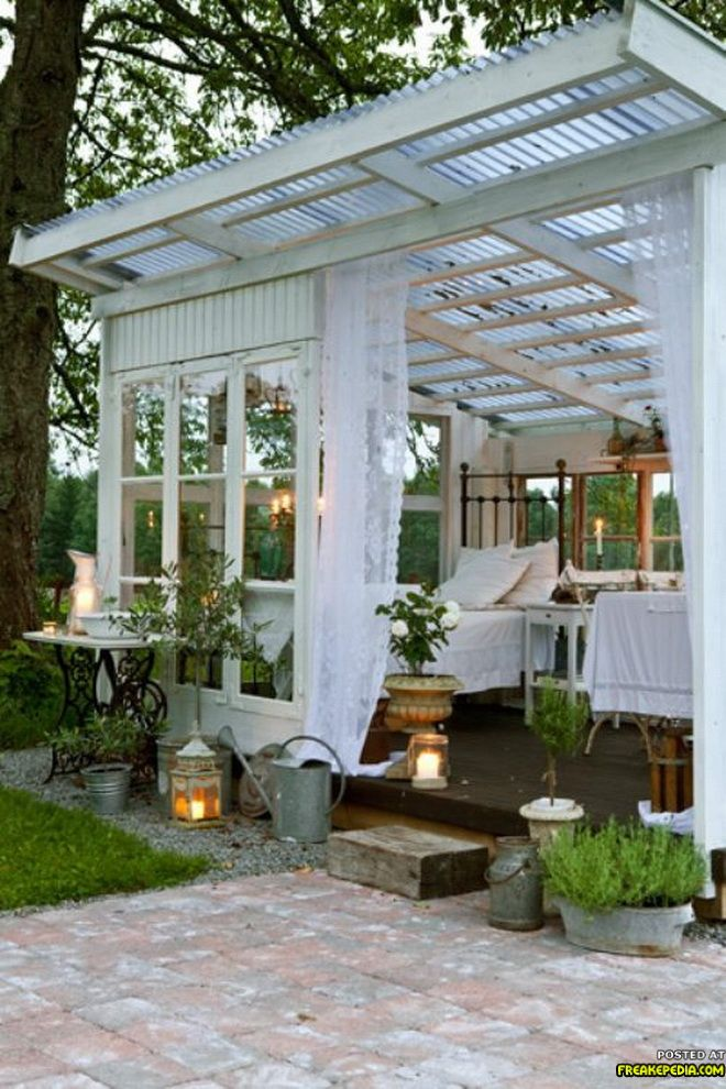 Sleeping pavillion. What a wonderful outdoor space.
