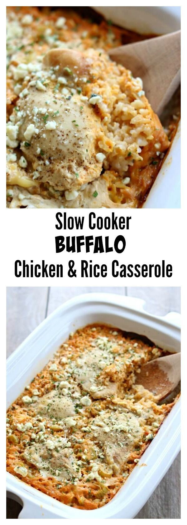 Slow Cooker Buffalo Chicken Rice Casserole–this crockpot casserole has all your favorite flavors from a platter of chicken wings in one pan. It starts with brown rice (you can substitute white if you'd like), sliced celery, chicken, spicy buffalo sauce and then it's topped with bleu cheese.