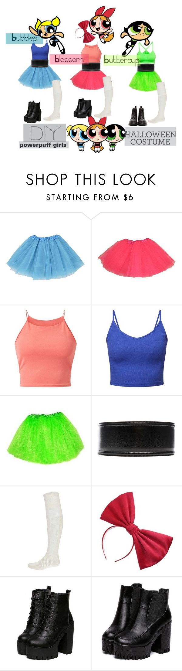 """powerpuff girls"" by mia-v1 ❤ liked on Polyvore featuring Parisian, H&M, Marni, Boohoo, Dr. Martens, Halloween, DIYHalloween and diycostume"