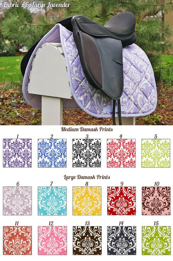 MADE TO ORDER Damask Print Saddle Pad Many Colors by PaddedPonies