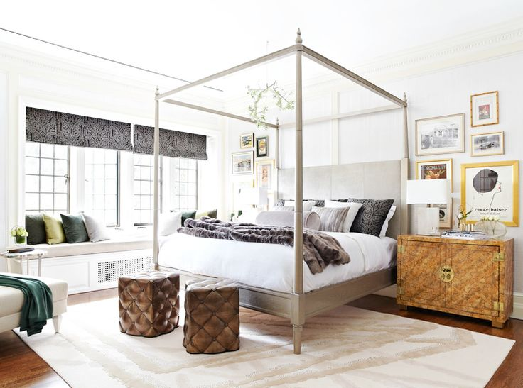 A gorgeous, calm bedroom with a surprising mix of materials.  I've always been a fan of a 4 poster and this one, with a nickel finish, is gorgeous!