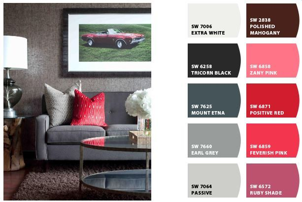 Palette made with Sherwin Williams' new Chip It! tool and this great bachelor pad image from HGTV. #color #palette #hgtvMuted Colors, Neutral Colors, Gray Colors, Colors Palettes, Image, Colors Schemes, Bachelor Pads, Paint Colors For Bachelor, Colors Ideas
