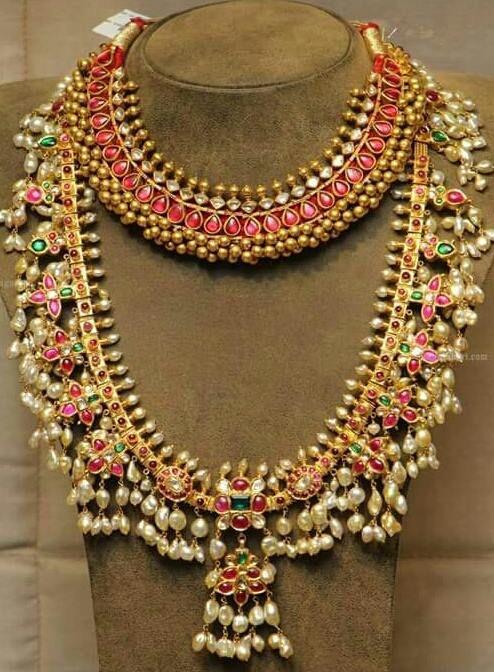 Jewellery Designs: Guttapusalu Set and Tussi Necklace