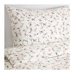 IKEA - LJUSÖGA, Housse de couette et taie, 150x200/65x65 cm, , Le coton est doux et agréable contre la peau.Les boutons-pression cachés maintiennent la couette bien en place.