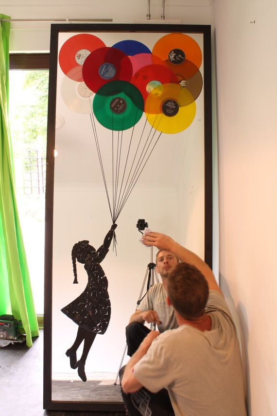 Extra Large Mirror Art,Oversized Wall Art,Huge wall decor,A homage to Banksy's Balloon Girl made with Vinyl Records - DJ art, music art