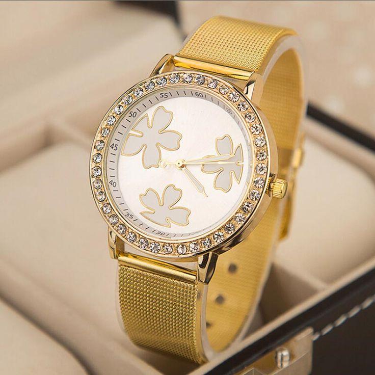 Мужская Оригиналы Известных Кварцевые Золотые Часы Женщины Счастливый Клевер Сетки пояса Сплава Часы С Бриллиантами Кварцевые Наручные Часы для Мужчин Женщин
