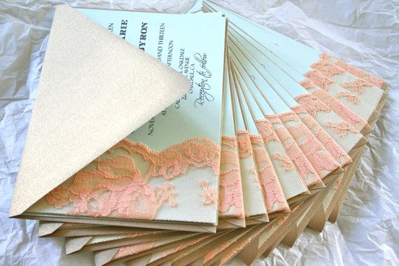 KYLIEs Lace Wedding Invitation Lace Gold Mint Peach By FairestLJ