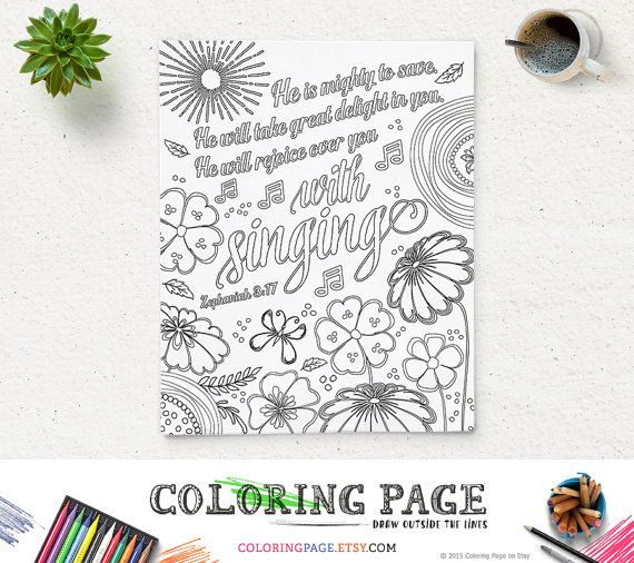 Coloring Page He is mighty Printable Bible Verse Zephaniah 3:17 Instant Download Coloring Pages Printable Quote Anti Stress Art Therapy