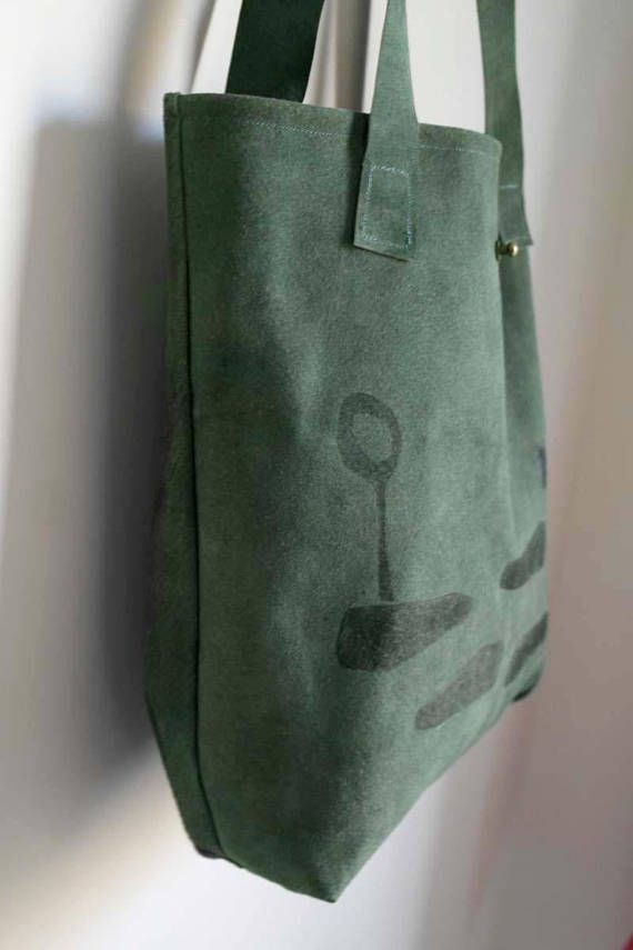 leather tote bag handmade handprinted minimal style fashion chic shoulder bag special print green leather bag visit us on Etsy