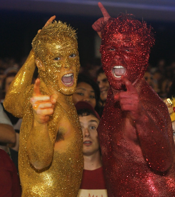 Florida State Garnet and Gold Guys celebrate at the end of the game. (AP Photo/Phil Sears)