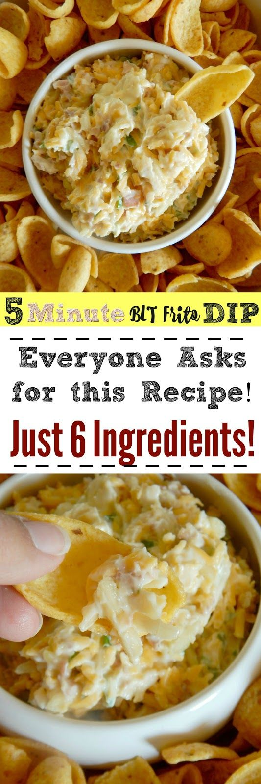 5 Minute BLT Frito Dip...the perfect summer snack! Served great poolside, at a barbecue or for a potluck!