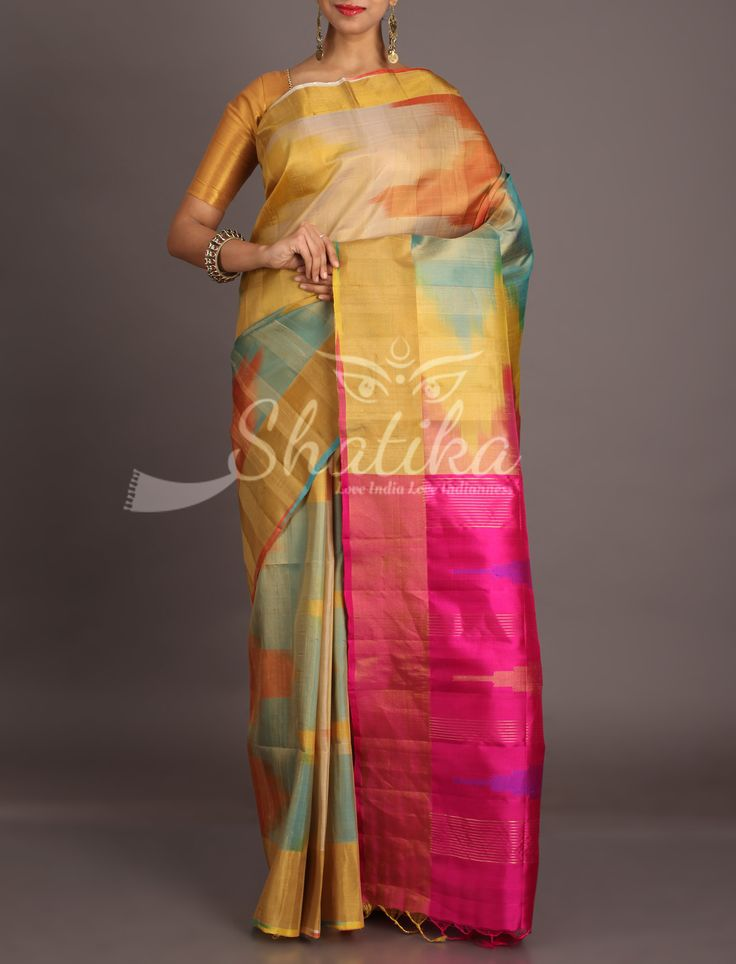 Neha Prismatic Ikat Patterned With Contrast Pink Pallu Dupion Silk Saree