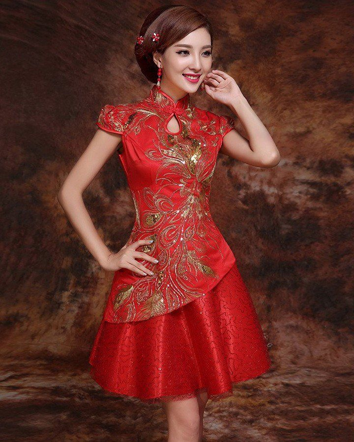 Traditional Red Brocade Chinese Wedding Dress with Floral Appliques - iDreamMart.com