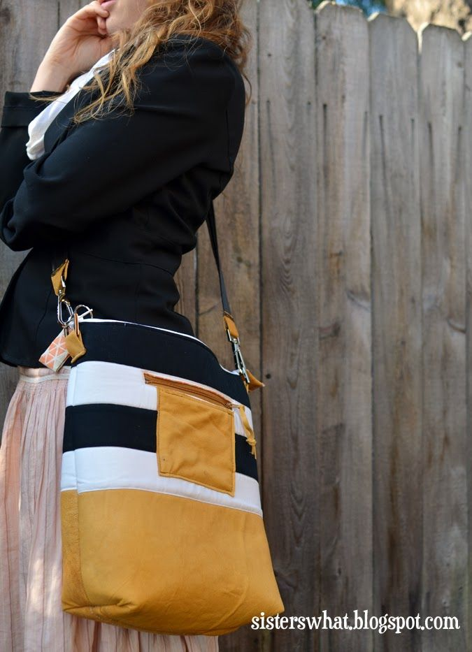 Striped leather bag tutorial via Sisters, Sisters - such a helpful, detailed tutorial!