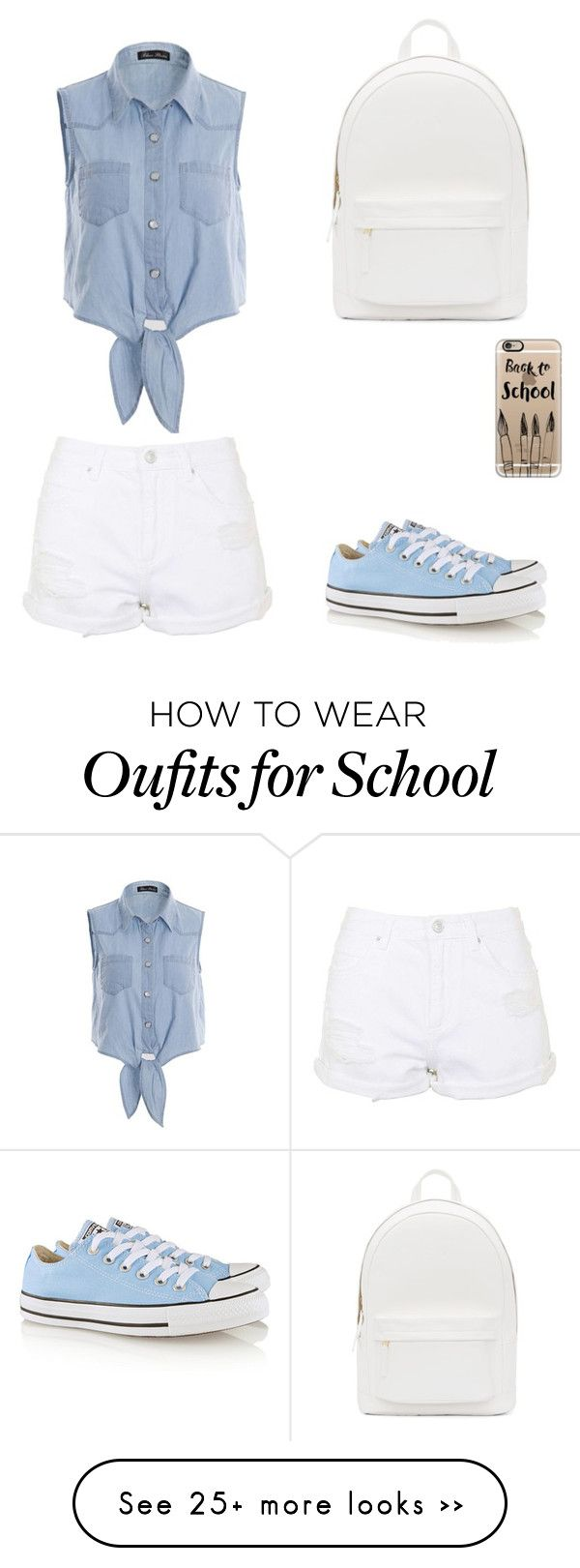 """""""Back to school """" by elizuyen on Polyvore featuring PB 0110, Topshop, Converse and Casetify"""