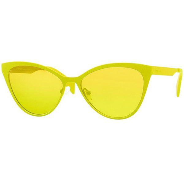 Italia Independent II 0022 I-ACE METAL 063/000 Sunglasses ($250) ❤ liked on Polyvore featuring accessories, eyewear, sunglasses, yellow, metal glasses, lens glasses, italia independent, yellow sunglasses and metal sunglasses
