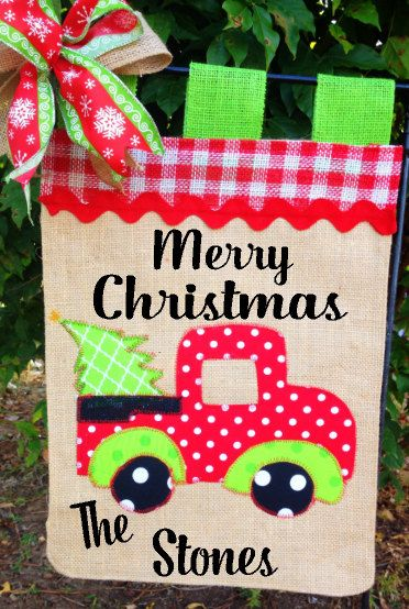 Christmas Truck Flag-Truck Garden Flag-Rustic Christmas-Personalized Gift-Christmas Gift Idea-Happy Holidays Sign-Welcome Y'all Garden Flag by TallahatchieDesigns on Etsy
