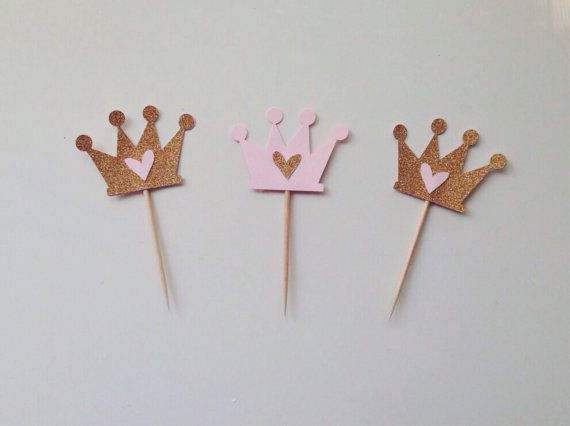 Gold Glitter and Pink Crown with Heart Cupcake Topper - Set of 12 or 24 - Perfect for Girl Birthday, First Birthday & Princess Party