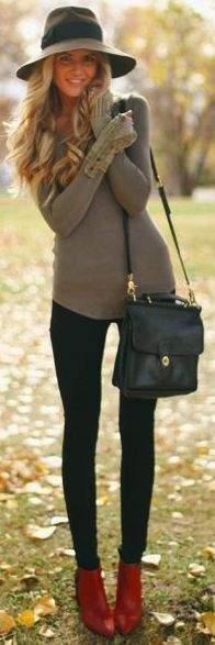 Fall - Winter - Sweater, tights, boots, hat.