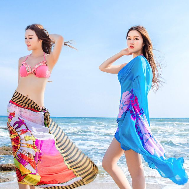 Women Chiffon Sarong Pareo Bikini Cover-Up Beach Dress Swimwear Wrap Skirt Cover, 60PCS US $169.10 To Buy Or See Another Product Click On This Link  http://goo.gl/yekAoR