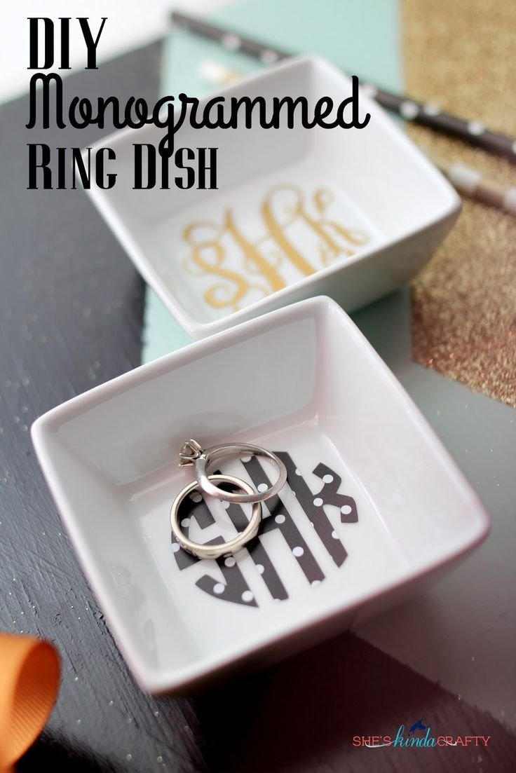 DIY Monogrammed Ring Dish created with my Silhouette #Monogram #MonogramMonday