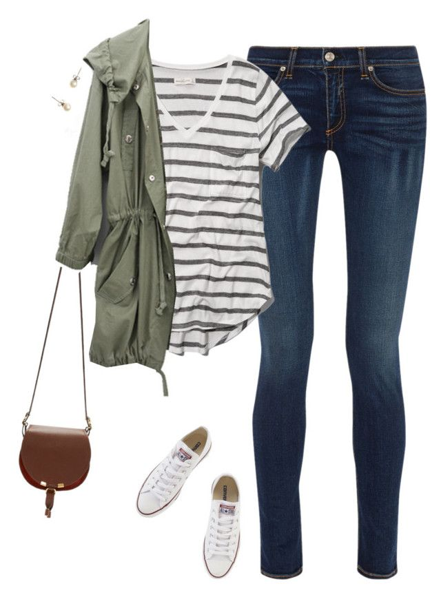 """Army green parka, striped tee & chucks"" by steffiestaffie on Polyvore"
